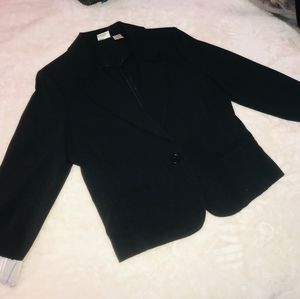 A black nine west blazer with silk on the inside